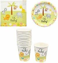 Baby Dusche Papier Teller, Tassen und Servietten