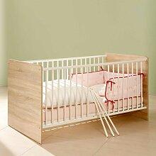 Baby Gitterbett in Weiß und Eiche Sonoma 80 cm