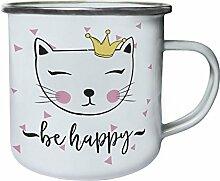 Baby-Katze-Dusche Retro, Zinn, Emaille 10oz/280ml