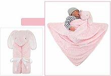 Baby Kinder Cartoon Tiere Dick Lamm Flaum Wohndecke Kolster Deckbet Wolldecke (Rosa Hase)