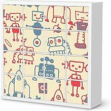 Baby-möbel Design für IKEA Kallax Regal 16 Türelemente | Möbel-Sticker Folie Dekorationsaufkleber | Fröhliche Einrichtungsideen Kinderzimmer Möbel Innendekoration | Kids Kinder Crazy Robots