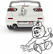 Baby on Board Mädchen Aufkleber mit Schaufel und Bausteinen Kinder Autotattoo Sticker  P029