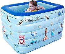 Baby-Schwimmbad-Isolierung Aufblasbares Schwimmbecken Baby-Schwimmen-Eimer Kind Dicke Badewanne, blau, 120 * 75cm