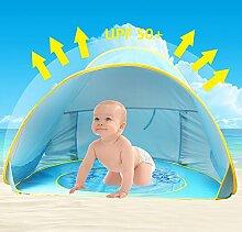 Baby Strandzelt,Oummit Pop-up Strandmuschel mit Strand Pool Automatik Strandmuschel mit Boden Sonnenschutz UV-Schutz 50+ Sehr Geeignet für Urlaub am Strand.(Blau)