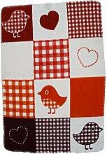 Baby u. Kinder Decke - Wolldecke rot Birdy 75x100 Bio
