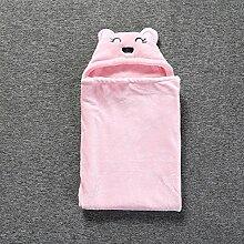 Baby-Wolldecke Bär Muster Babydecken Herbst Und Winter Korallen Kaschmir Baumwolle Baby-Paket Quilt,Pink-35.4*33.5in