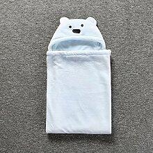 Baby-Wolldecke Bär Muster Babydecken Herbst Und Winter Korallen Kaschmir Baumwolle Baby-Paket Quilt,Blue-35.4*33.5in