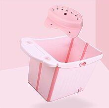 Babybadefass, verdickte Babybadewanne, kann Faltbadefass sitzen ( Color : Pink )