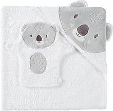 Babybadetuch aus Baumwolle, weiß und grau