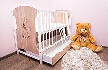 Babybett 120x60 cm Kinderbett mit Schublade Modell