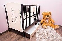 Babybett 120x60 cm Kinderbett mit Schublade Modell FIFI (Wenge)