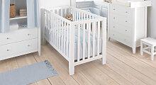 Babybett Heaven, 60x120 cm, weiß mit Holzstruktur