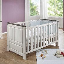 Babybett in Weiß und Grey Wash Kiefer Massivholz