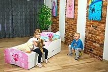 Babybett Kinderbett Bett Schlafzimmer Kindermöbel Spielbett Nobiko Line Rainbow 140x70/160x80/180x90 Schublade Matratze Lattenrost (38) (160x80)