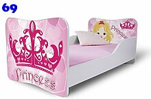 Babybett Kinderbett Bett Schlafzimmer Kindermöbel Spielbett Nobiko Butterfly 160x80 or 140x70 Matratze Lattenrost (160x80, 69)