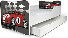 Babybett Kinderbett Bett Schlafzimmer Kindermöbel Spielbett Nobiko Butterfly 160x80 or 140x70 Matratze Lattenrost (160x80, 27)