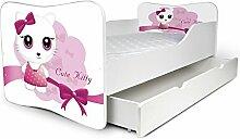 Babybett Kinderbett Bett Schlafzimmer Kindermöbel Spielbett Nobiko Butterfly 160x80 or 140x70 Matratze Lattenrost (140x70, 13)