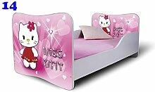 Babybett Kinderbett Bett Schlafzimmer Kindermöbel Spielbett Nobiko Butterfly 160x80 or 140x70 Matratze Lattenrost (160x80, 14)