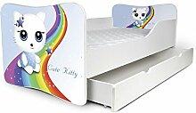 Babybett Kinderbett Bett Schlafzimmer Kindermöbel Spielbett Nobiko Butterfly 160x80 or 140x70 Matratze Lattenrost (140x70, 15)