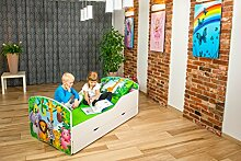 Babybett Kinderbett Bett Schlafzimmer Kindermöbel Spielbett Nobiko Line Rainbow 140x70/160x80/180x90 Schublade Matratze Lattenrost (17) (160x80)