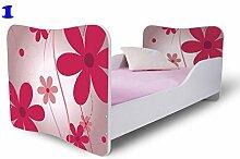 Babybett Kinderbett Bett Schlafzimmer Kindermöbel Spielbett Nobiko Butterfly 140x70 cm und 160x80 cm Matratze Lattenrost ohne Schublade (140x70, 1)