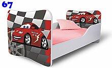 Babybett Kinderbett Bett Schlafzimmer Kindermöbel Spielbett Nobiko Butterfly 160x80 or 140x70 Matratze Lattenrost (160x80, 67)