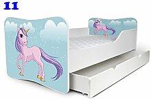 Babybett Kinderbett Bett Schlafzimmer Kindermöbel Spielbett Nobiko Butterfly 160x80 or 140x70 Matratze Lattenrost (160x80, 11)