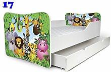 Babybett Kinderbett Bett Schlafzimmer Kindermöbel Spielbett Nobiko Butterfly 160x80 or 140x70 Matratze Lattenrost (160x80, 17)