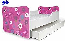 Babybett Kinderbett Bett Schlafzimmer Kindermöbel Spielbett Nobiko Butterfly 160x80 or 140x70 Matratze Lattenrost (160x80, 36)