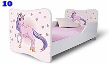 Babybett Kinderbett Bett Schlafzimmer Kindermöbel Spielbett Nobiko Butterfly 160x80 or 140x70 Matratze Lattenrost (140x70, 10)