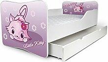 Babybett Kinderbett Bett Schlafzimmer Kindermöbel Spielbett Nobiko Butterfly 160x80 or 140x70 Matratze Lattenrost (160x80, 16)