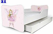 Babybett Kinderbett Bett Schlafzimmer Kindermöbel Spielbett Nobiko Butterfly 160x80 or 140x70 Matratze Lattenrost (160x80, 21)