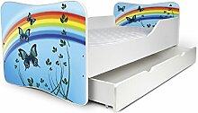 Babybett Kinderbett Bett Schlafzimmer Kindermöbel Spielbett Nobiko Butterfly 160x80 or 140x70 Matratze Lattenrost (140x70, 20)