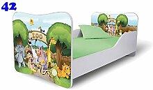 Babybett Kinderbett Bett Schlafzimmer Kindermöbel Spielbett Nobiko Butterfly 160x80 or 140x70 Matratze Lattenrost (140x70, 42)