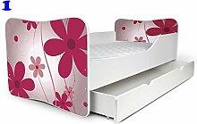 Babybett Kinderbett Bett Schlafzimmer Kindermöbel Spielbett Nobiko Butterfly 160x80 or 140x70 Matratze Lattenrost + Schublade (160x80, 1)