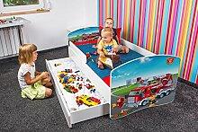 Babybett Kinderbett Bett Schlafzimmer Kindermöbel Spielbett Nobiko Banbao Smallrainbow 160x80 or 140x70 Matratze Lattenrost Schublade (160x80, fire-brigade-3)