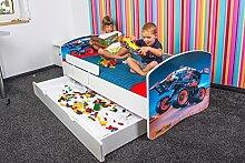 Babybett Kinderbett Bett Schlafzimmer Kindermöbel Spielbett Nobiko Banbao Smallrainbow 160x80 or 140x70 Matratze Lattenrost Schublade (140x70, hiotech-4)