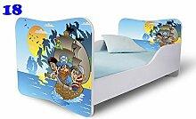 Babybett Kinderbett Bett Schlafzimmer Kindermöbel Spielbett Nobiko Butterfly 160x80 or 140x70 Matratze Lattenrost (140x70, 18)