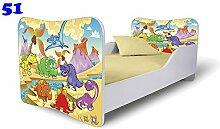 Babybett Kinderbett Bett Schlafzimmer Kindermöbel Spielbett Nobiko Butterfly 160x80 or 140x70 Matratze Lattenrost (160x80, 51)