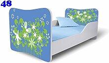 Babybett Kinderbett Bett Schlafzimmer Kindermöbel Spielbett Nobiko Butterfly 160x80 or 140x70 Matratze Lattenrost (140x70, 48)