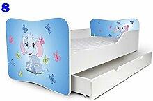 Babybett Kinderbett Bett Schlafzimmer Kindermöbel Spielbett Nobiko Butterfly 160x80 or 140x70 Matratze Lattenrost (140x70, 8)