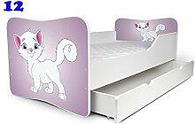 Babybett Kinderbett Bett Schlafzimmer Kindermöbel Spielbett Nobiko Butterfly 160x80 or 140x70 Matratze Lattenrost (160x80, 12)