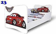 Babybett Kinderbett Bett Schlafzimmer Kindermöbel Spielbett Nobiko Butterfly 160x80 or 140x70 Matratze Lattenrost (160x80, 23)