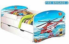 Babybett Kinderbett Bett Schlafzimmer Kindermöbel Spielbett Nobiko Banbao Smallrainbow 160x80 or 140x70 Matratze Lattenrost Schublade (160x80, fire-brigade-2)