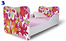 Babybett Kinderbett Bett Schlafzimmer Kindermöbel Spielbett Nobiko Butterfly 160x80 or 140x70 Schublade Matratze Lattenrost (160x80, 3)