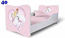 Babybett Kinderbett Bett Schlafzimmer Kindermöbel Spielbett Nobiko Butterfly 160x80 or 140x70 Matratze Lattenrost (160x80, 40)