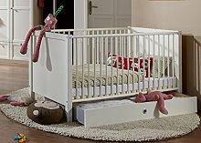 Babybett mit Schlupfsprossen in Alpinweiß, Liegefläche ca. 70 x 140 cm, inkl. Lattenrost, höhenverstellbar Maße: B/H/T ca. 74/77/150