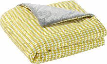 Babydecke aus Baumwolle gelb/grau 75 x 100 cm