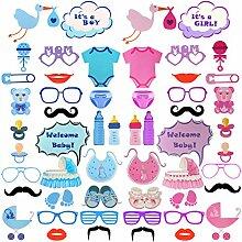 Babydusche Foto Props - Rymall 54 Stück Babydusche Mummy To Be Baby dusche Party Baby Flaschen Masken Photo Booth Props Neugeborene Dame baby Partydekoration