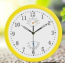 BABYQUEEN 10 Zoll Modern Analog Wanduhr Wohnzimmer Schlafzimmer Uhren Thermometer Hygrometer Wandtattoo Dekoration Uhr Gelb